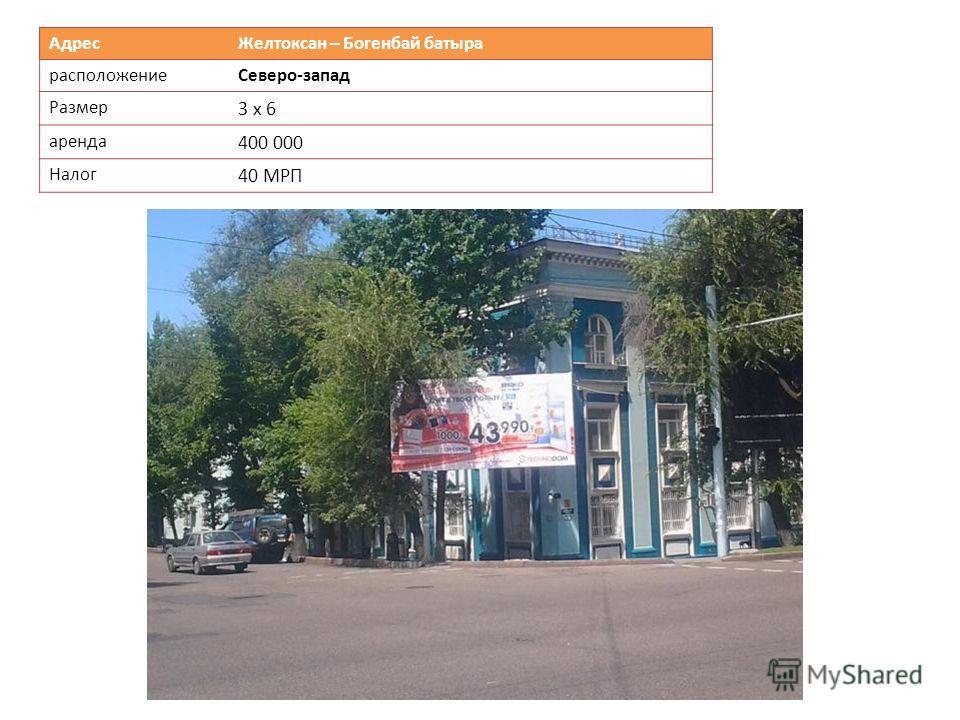 Адрес Желтоксан – Богенбай батыра расположениеСеверо-запад Размер 3 х 6 аренда 400 000 Налог 40 МРП