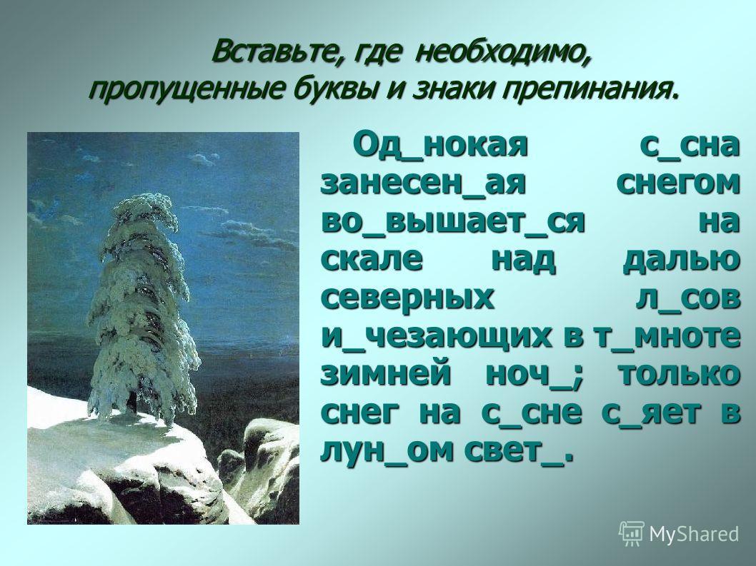 Вставьте, где необходимо, пропущенные буквы и знаки препинания. Вставьте, где необходимо, пропущенные буквы и знаки препинания. Од_нокая с_сна занесен_ая снегом во_вышает_ся на скале над далью северных л_сов и_чезающих в т_мноте зимней ноч_; только с