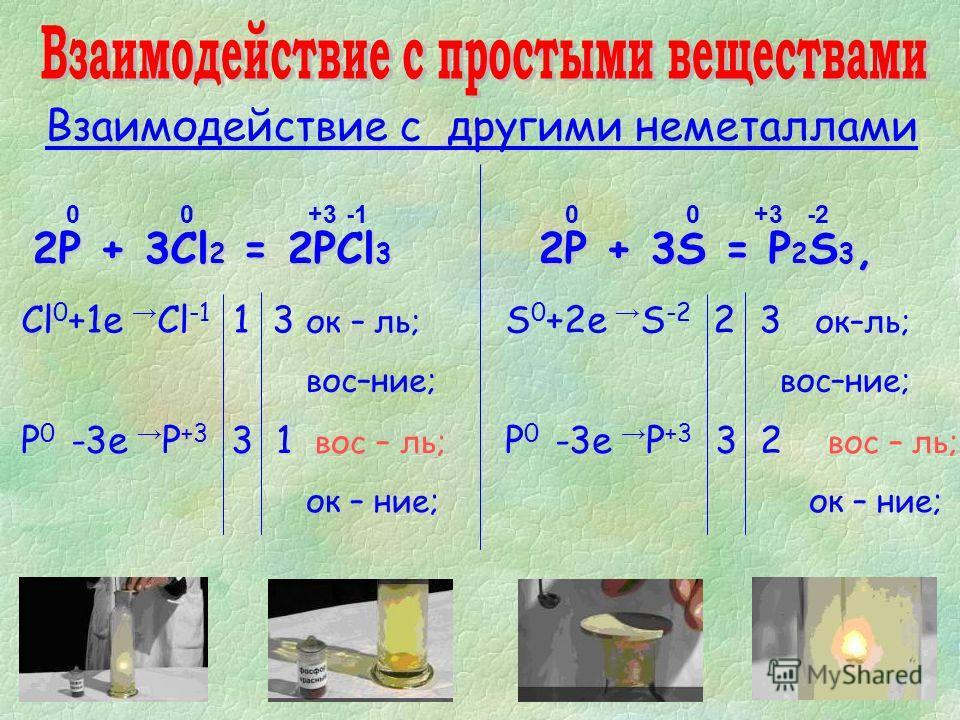Взаимодействие с другими неметаллами 2P + 3Cl 2 = 2PCl 3 2P + 3S = P 2 S 3, 0+3 Сl 0 +1е Cl -1 1 3 ок – ль; вос–ние; P 0 -3е P +3 3 1 вос – ль; ок – ние; 00-2-2+3 S 0 +2е S -2 2 3 ок–ль; вос–ние; P 0 -3е P +3 3 2 вос – ль; ок – ние; 0