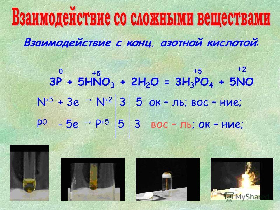 Взаимодействие с конц. азотной кислотой: 3Р + 5HNO 3 + 2H 2 O = 3H 3 PO 4 + 5NO 0 +2 +5+5 N +5 + 3е N +2 3 5 ок – ль; вос – ние; Р 0 - 5е Р +5 5 3 вос – ль; ок – ние; +5+5