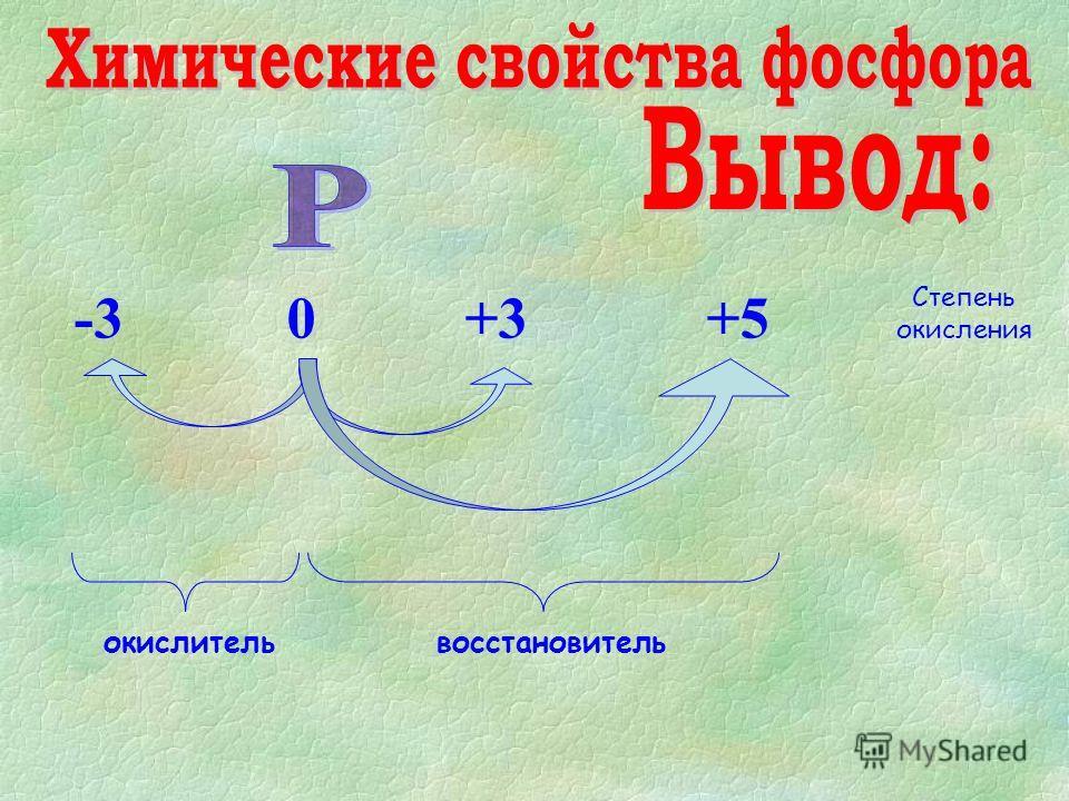 -3 0 +3 +5 Степень окисления окислительвосстановитель