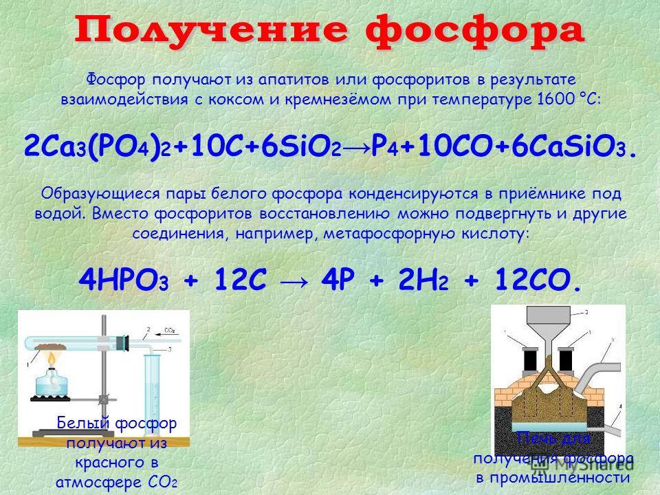Фосфор получают из апатитов или фосфоритов в результате взаимодействия с коксом и кремнезёмом при температуре 1600 °С: 2Ca 3 (PO 4 ) 2 +10C+6SiO 2 P 4 +10CO+6CaSiO 3. Образующиеся пары белого фосфора конденсируются в приёмнике под водой. Вместо фосфо