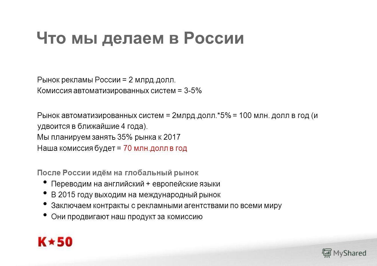 Что мы делаем в России Рынок рекламы России = 2 млрд.долл. Комиссия автоматизированных систем = 3-5% Рынок автоматизированных систем = 2млрд.долл.*5% = 100 млн. долл в год (и удвоится в ближайшие 4 года). Мы планируем занять 35% рынка к 2017 Наша ком