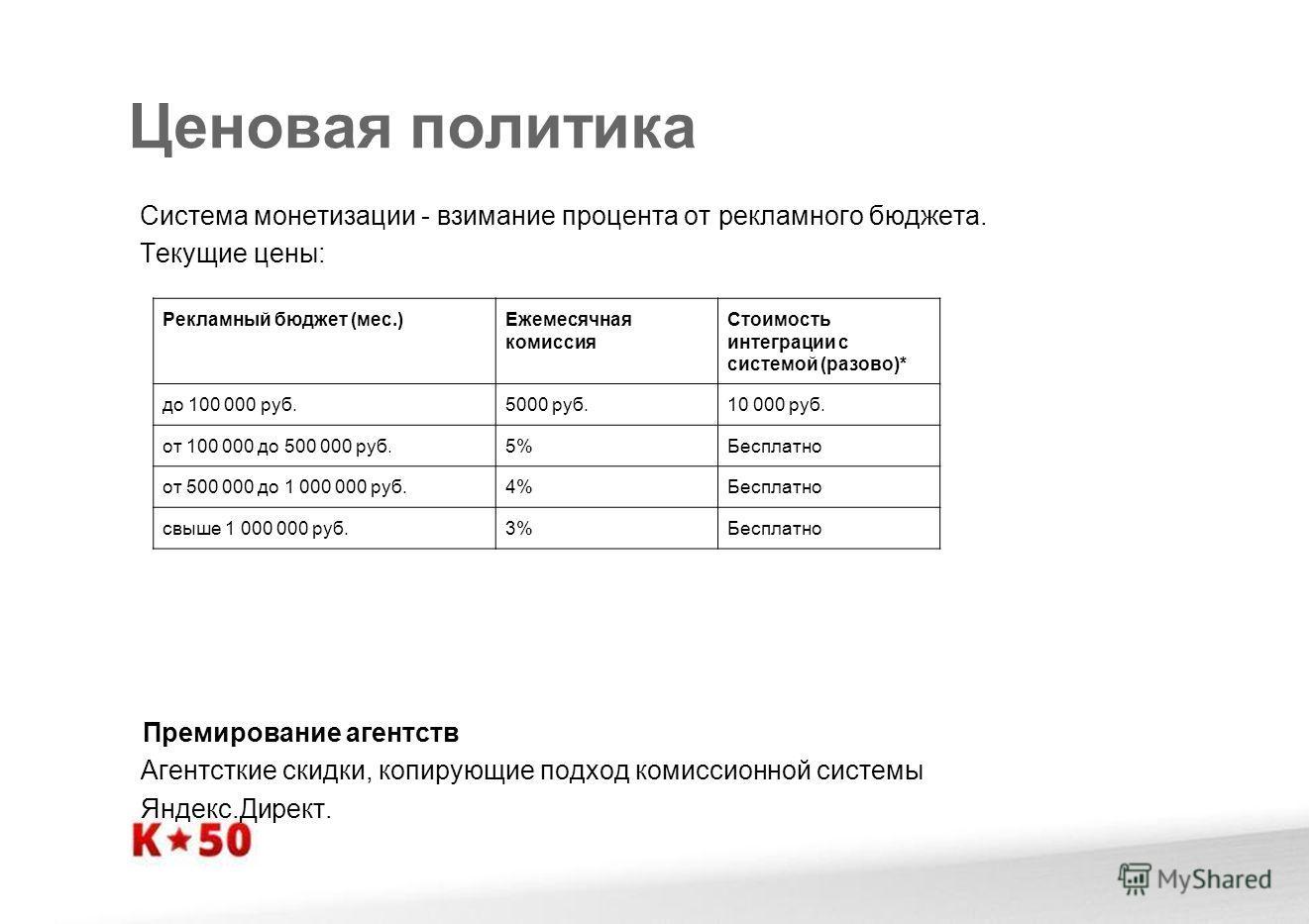 Ценовая политика Система монетизации - взимание процента от рекламного бюджета. Текущие цены: Премирование агентств Агентсткие скидки, копирующие подход комиссионной системы Яндекс.Директ. Рекламный бюджет (мес.)Ежемесячная комиссия Стоимость интегра
