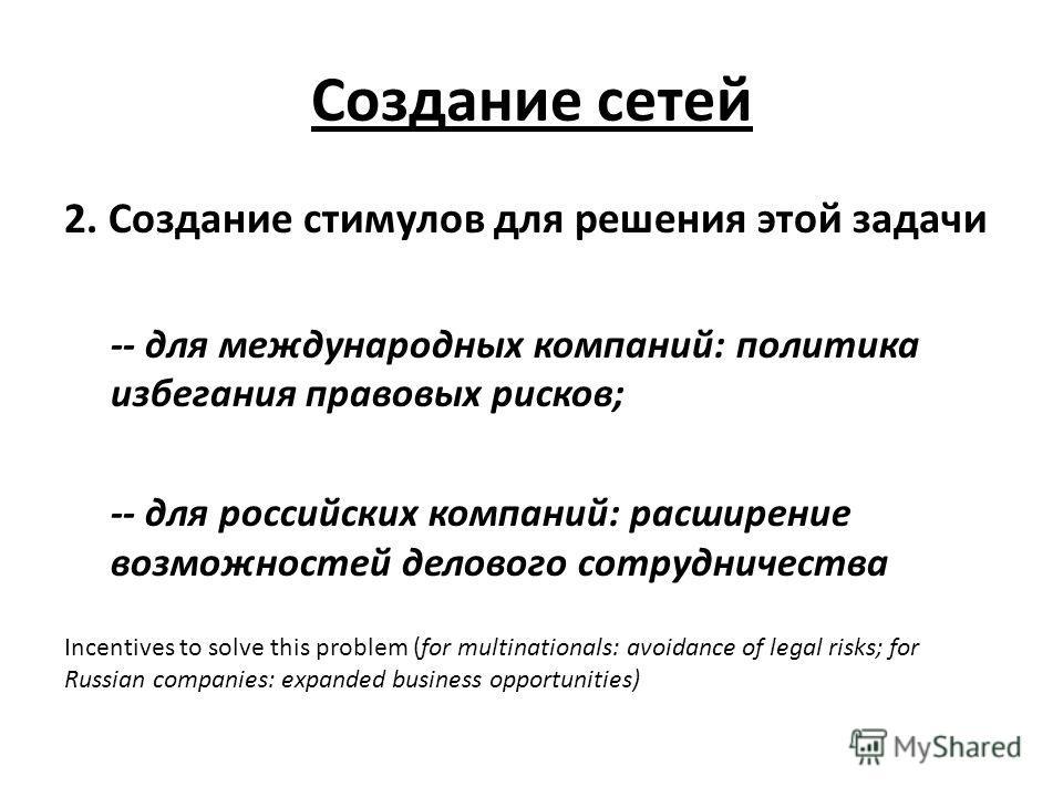 Создание сетей 2. Создание стимулов для решения этой задачи -- для международных компаний: политика избегания правовых рисков; -- для российских компаний: расширение возможностей делового сотрудничества Incentives to solve this problem (for multinati