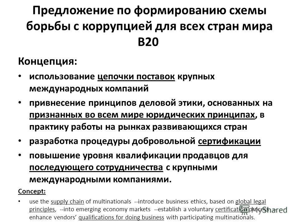 Предложение по формированию схемы борьбы с коррупцией для всех стран мира B20 Концепция: использование цепочки поставок крупных международных компаний привнесение принципов деловой этики, основанных на признанных во всем мире юридических принципах, в