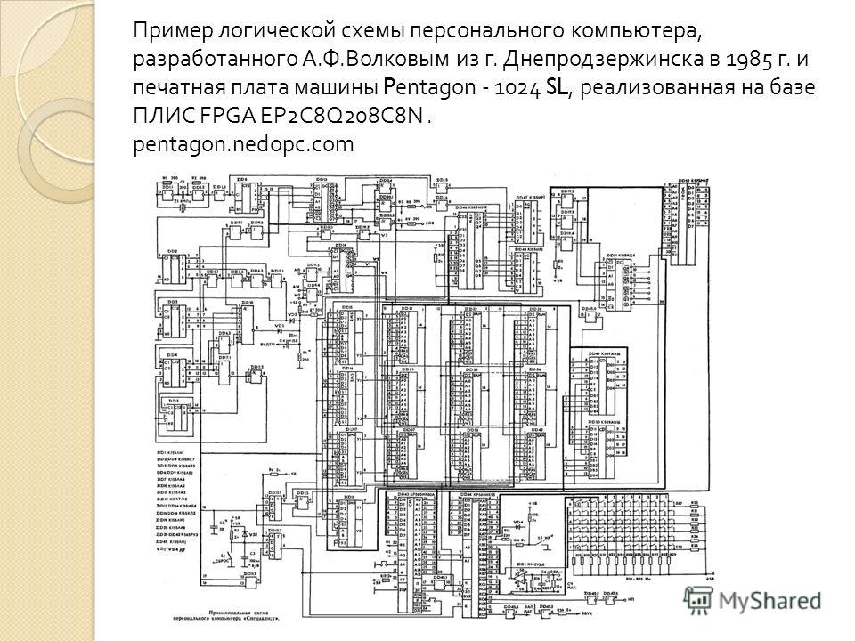 Пример логической схемы персонального компьютера, разработанного А. Ф. Волковым из г. Днепродзержинска в 1985 г. и печатная плата машины Pentagon - 1024 SL, реализованная на базе ПЛИС FPGA EP2C8Q208C8N. pentagon.nedopc.com