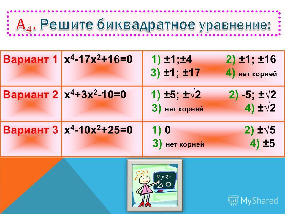 Вариант 1 2х 2 -7х+5=0 1) 1 2) 2,5 3) 3 4) 3,5 Вариант 2 3х 2 -2х-1=0 1) 1 2) -1/3 3) -1 4) 3 Вариант 3 4х 2 -7х+3=0 1) 1 2) -3/4 3) 3/4 4) 3