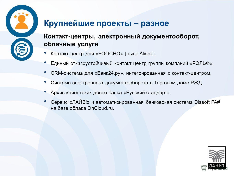 Контакт-центры, электронный документооборот, облачные услуги Контакт-центр для «РООСНО» (ныне Alianz). Единый отказоустойчивый контакт-центр группы компаний «РОЛЬФ». CRM-система для «Банк24.ру», интегрированная с контакт-центром. Система электронного