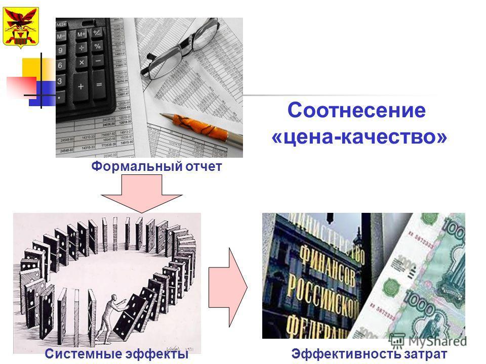 Формальный отчет Системные эффектыЭффективность затрат Соотнесение «цена-качество»