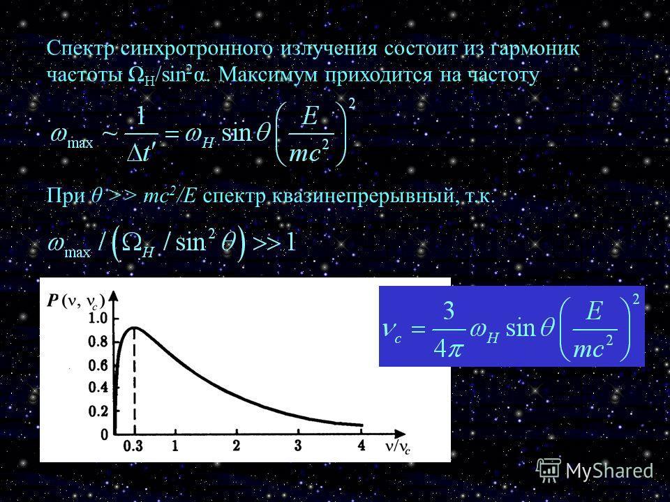 Спектр синхротронного излучения состоит из гармоник частоты Ω H /sin 2 α. Максимум приходится на частоту При θ >> mc 2 /E спектр квазинепрерывный, т.к.