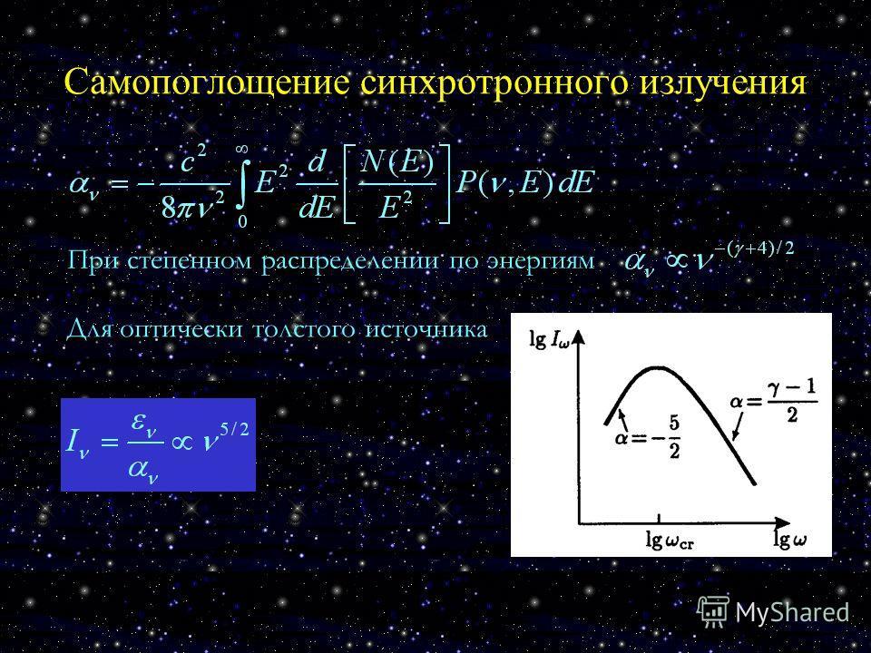 Самопоглощение синхротронного излучения При степенном распределении по энергиям Для оптически толстого источника