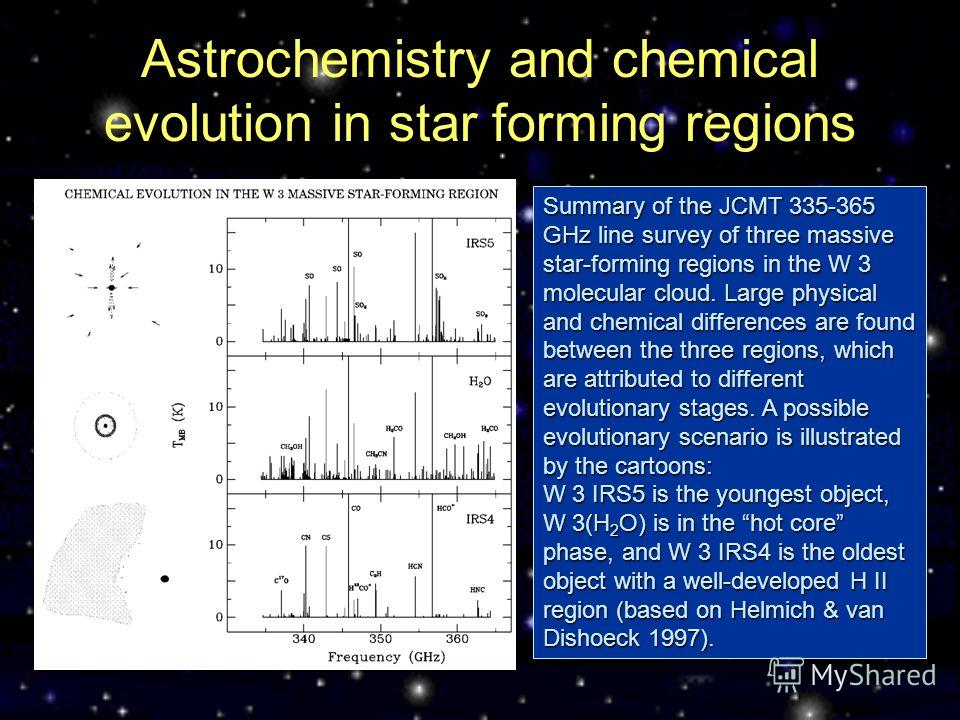 Astrochemistry and chemical evolution in star forming regions Summary of the JCMT 335-365 GHz line survey of three massive star-forming regions in the W 3 molecular cloud. Large physical and chemical differences are found between the three regions, w