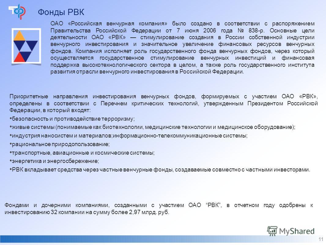 Фонды РВК 11 ОАО «Российская венчурная компания» было создано в соответствии с распоряжением Правительства Российской Федерации от 7 июня 2006 года 838-р. Основные цели деятельности ОАО «РВК» стимулирование создания в России собственной индустрии вен