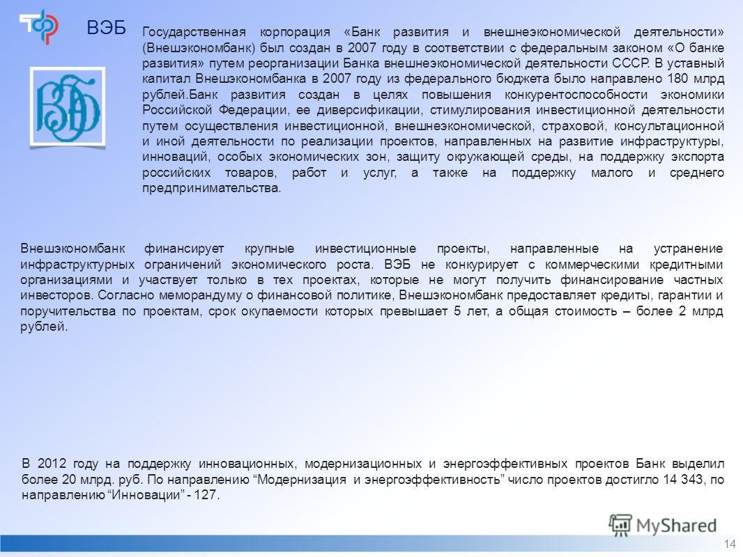 ВЭБ 14 Государственная корпорация «Банк развития и внешнеэкономической деятельности» (Внешэкономбанк) был создан в 2007 году в соответствии с федеральным законом «О банке развития» путем реорганизации Банка внешнеэкономической деятельности СССР. В ус