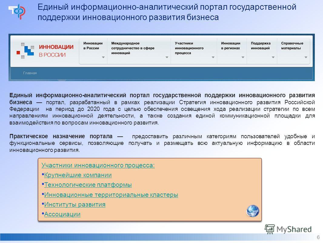 Единый информационно-аналитический портал государственной поддержки инновационного развития бизнеса 6 Единый информационно-аналитический портал государственной поддержки инновационного развития бизнеса портал, разрабатанный в рамках реализации Страте