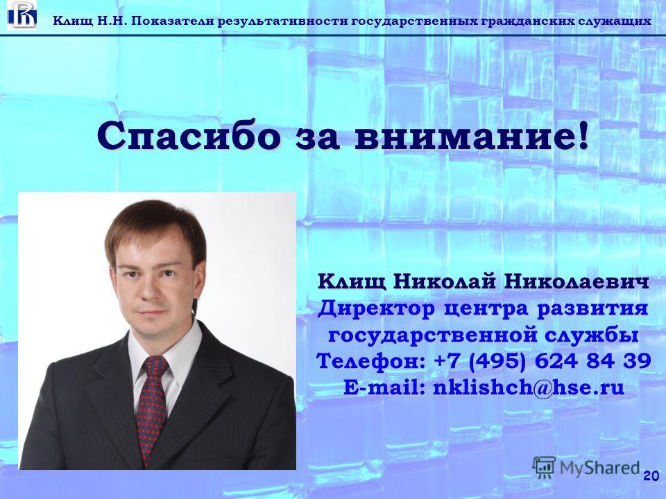 Клищ Н.Н. Показатели результативности государственных гражданских служащих 20 Спасибо за внимание! Клищ Николай Николаевич Директор центра развития государственной службы Телефон: +7 (495) 624 84 39 E-mail: nklishch@hse.ru
