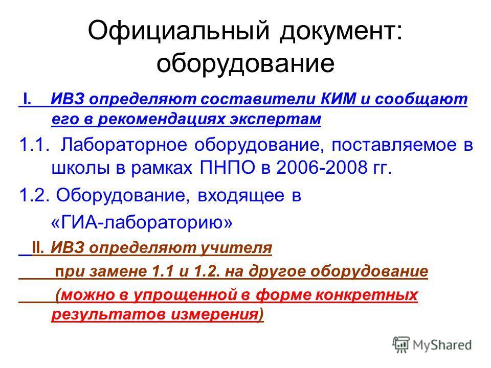 Официальный документ: оборудование I. ИВЗ определяют составители КИМ и сообщают его в рекомендациях экспертам 1.1. Лабораторное оборудование, поставляемое в школы в рамках ПНПО в 2006-2008 гг. 1.2. Оборудование, входящее в «ГИА-лабораторию» II. ИВЗ о
