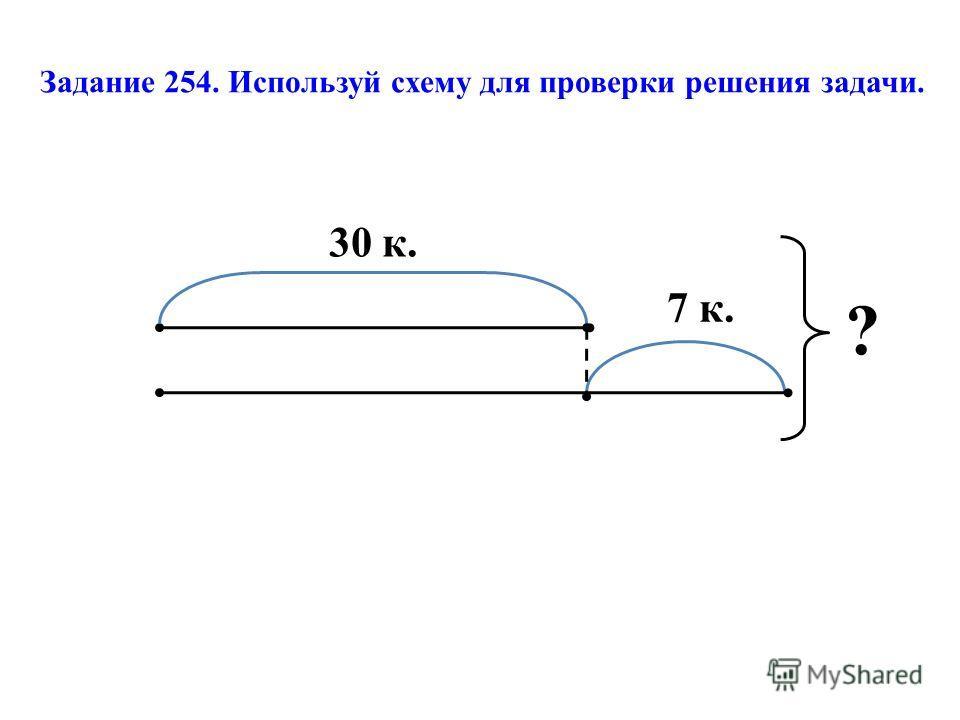 Задание 254. Используй схему для проверки решения задачи. 30 к. 7 к. ?