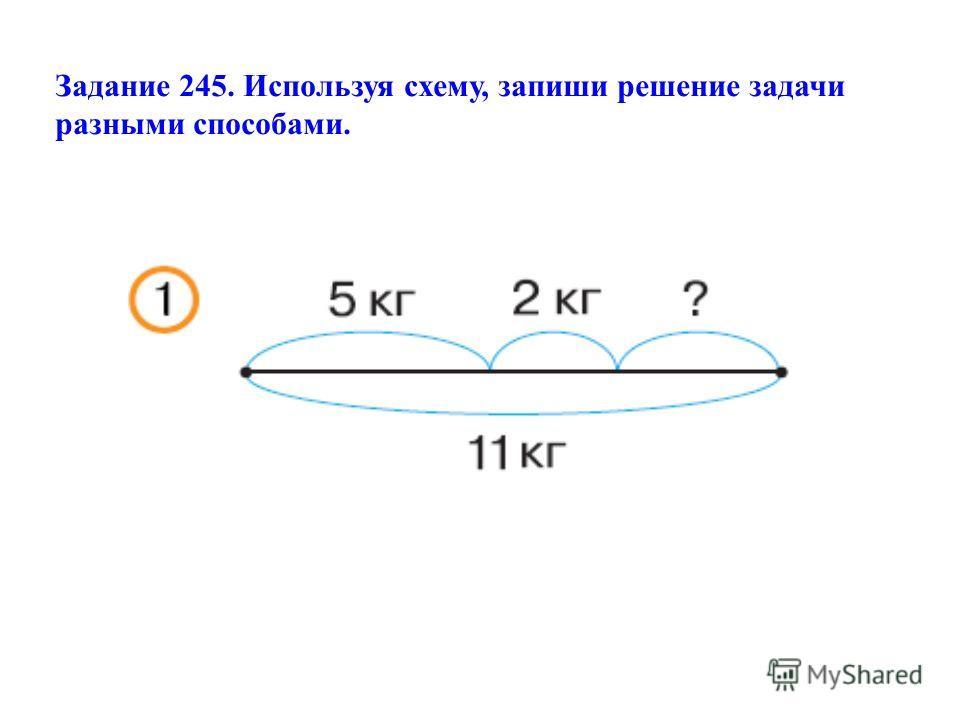 Задание 245. Используя схему, запиши решение задачи разными способами.