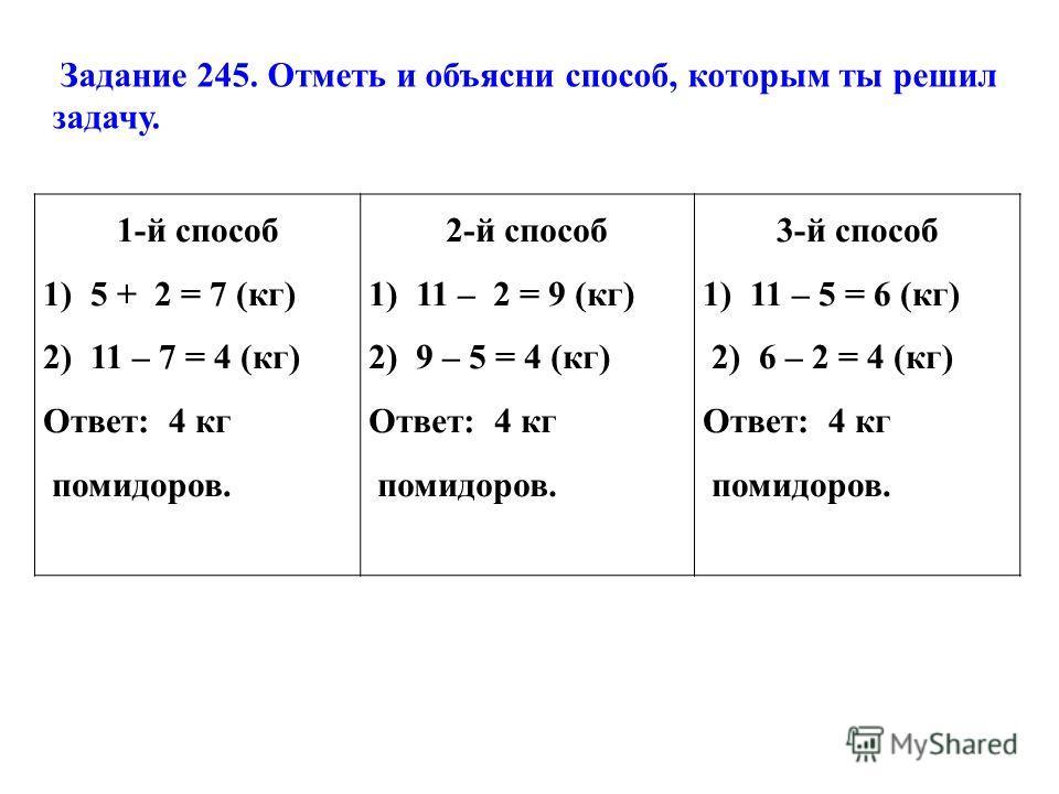 1-й способ 1) 5 + 2 = 7 (кг) 2) 11 – 7 = 4 (кг) Ответ: 4 кг помидоров. 2-й способ 1) 11 – 2 = 9 (кг) 2) 9 – 5 = 4 (кг) Ответ: 4 кг помидоров. 3-й способ 1) 11 – 5 = 6 (кг) 2) 6 – 2 = 4 (кг) Ответ: 4 кг помидоров. Задание 245. Отметь и объясни способ,