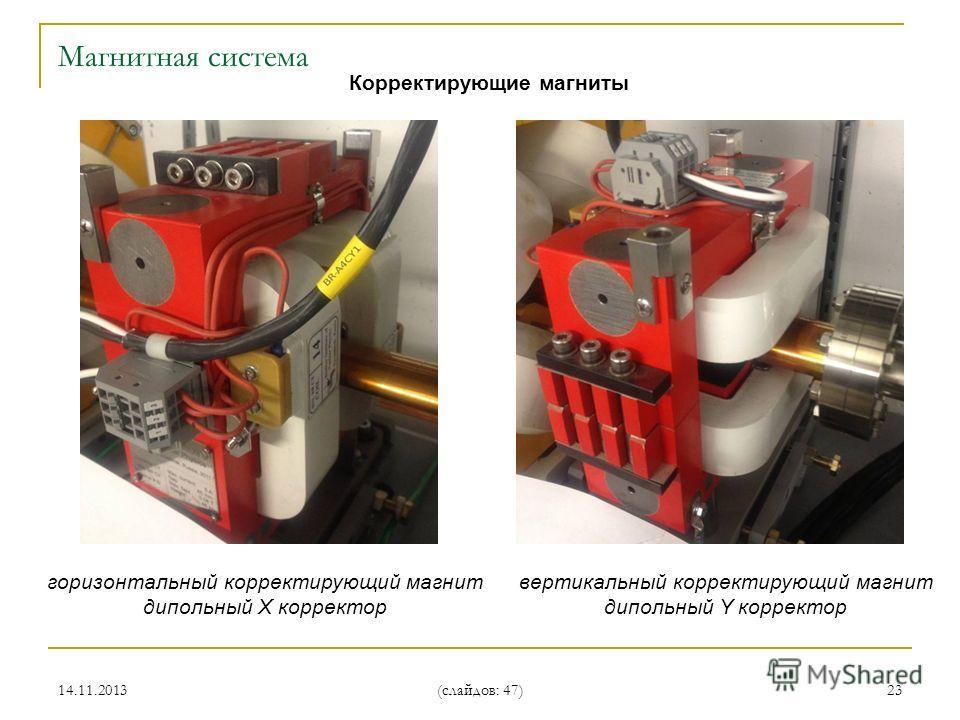 14.11.2013 (слайдов: 47) 23 Корректирующие магниты горизонтальный корректирующий магнит дипольный X корректор вертикальный корректирующий магнит дипольный Y корректор Магнитная система