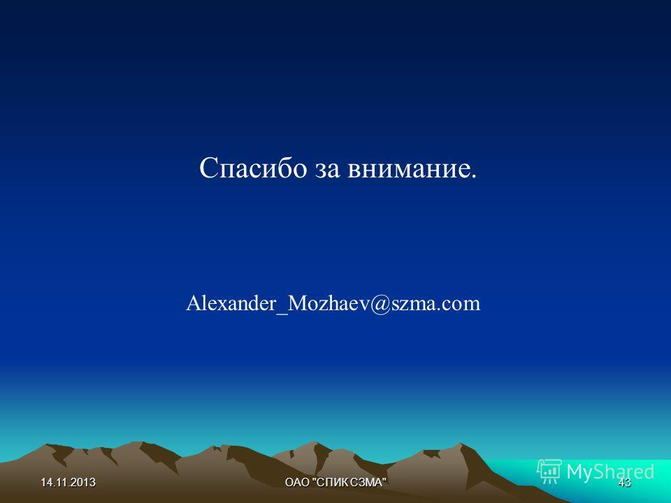 14.11.2013ОАО СПИК СЗМА43 Спасибо за внимание. Alexander_Mozhaev@szma.com