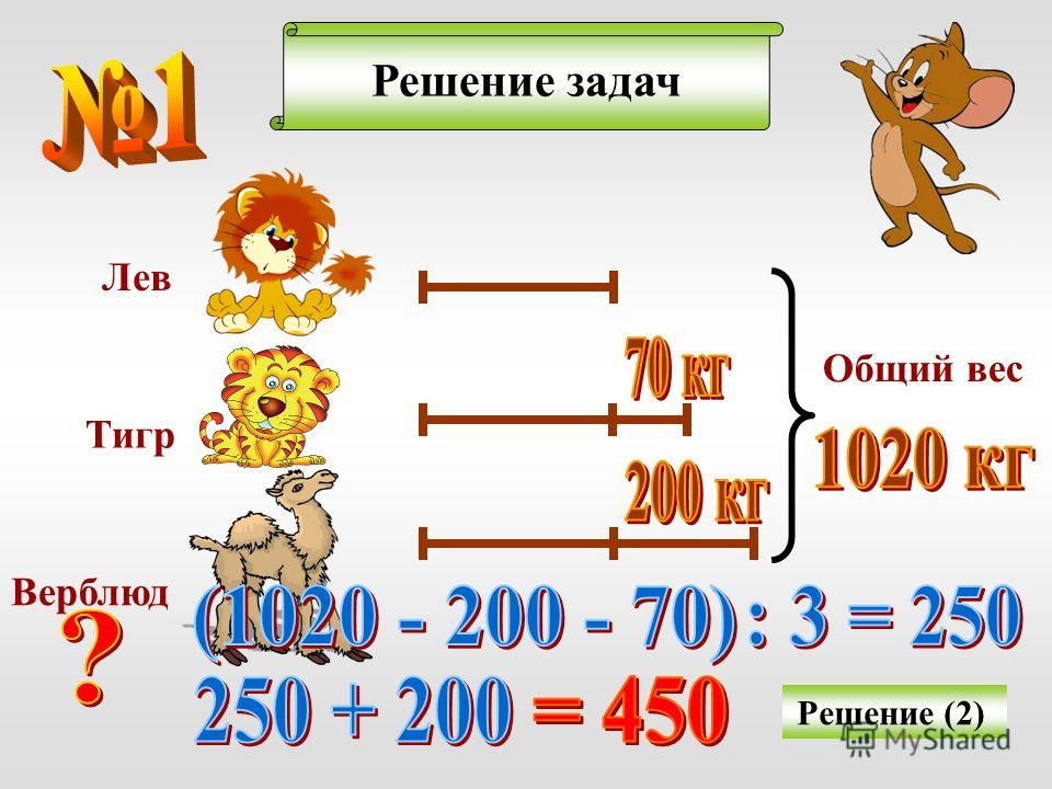 Решение задач Решение (2) Лев Тигр Верблюд Общий вес