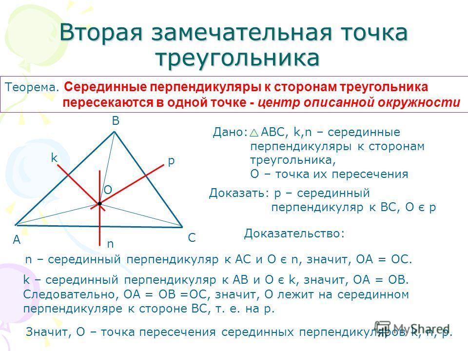 Вторая замечательная точка треугольника Теорема. Серединные перпендикуляры к сторонам треугольника пересекаются в одной точке - центр описанной окружности Дано: АВС, k,n – серединные перпендикуляры к сторонам треугольника, О – точка их пересечения До