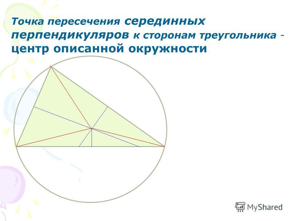 Точка пересечения серединных перпендикуляров к сторонам треугольника - центр описанной окружности