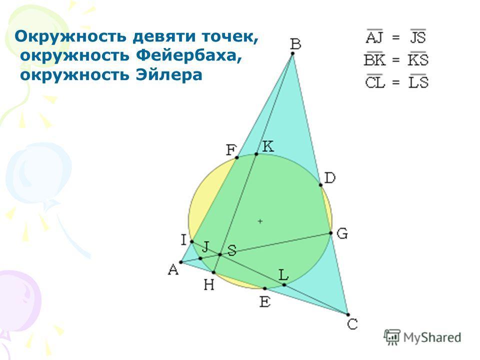 Окружность девяти точек, окружность Фейербаха, окружность Эйлера