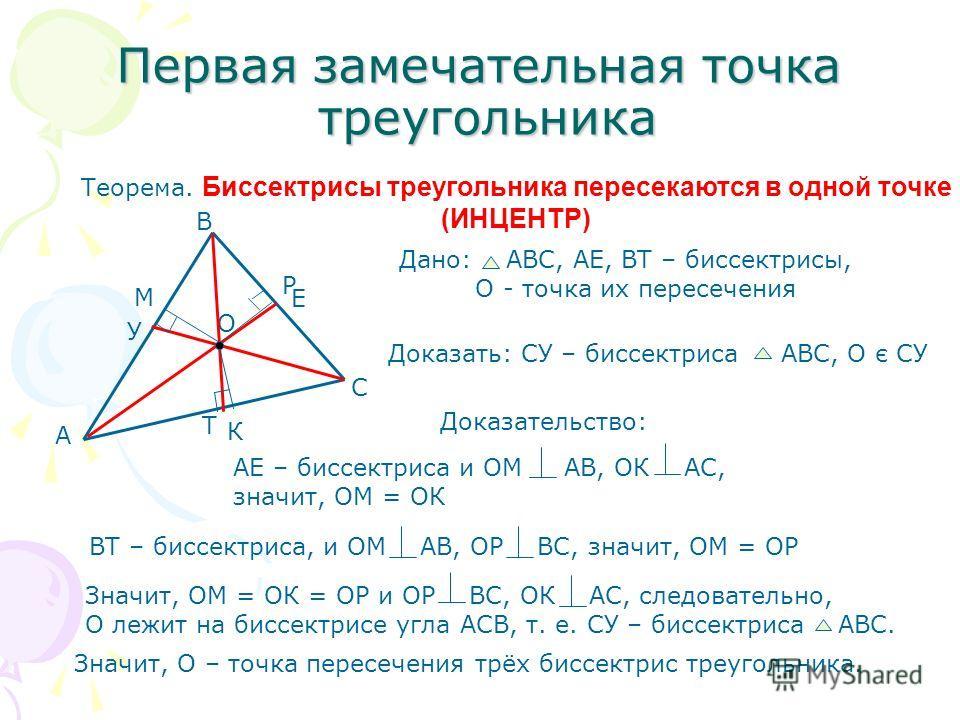 Первая замечательная точка треугольника Теорема. Биссектрисы треугольника пересекаются в одной точке (ИНЦЕНТР) Дано: АВС, АЕ, ВТ – биссектрисы, О - точка их пересечения Доказать: СУ – биссектриса АВС, О є СУ Доказательство: АЕ – биссектриса и ОМ АВ,