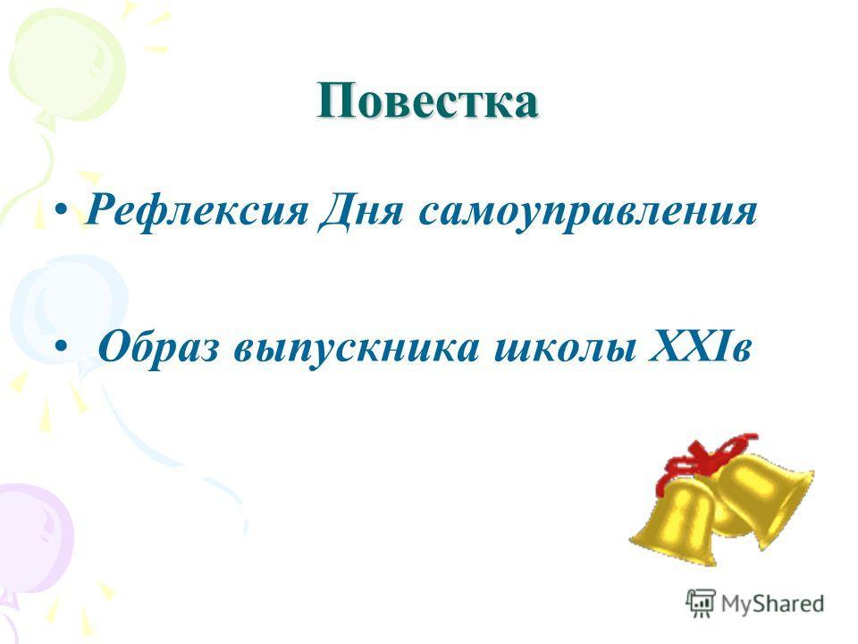 Повестка Рефлексия Дня самоуправления Образ выпускника школы ХХIв