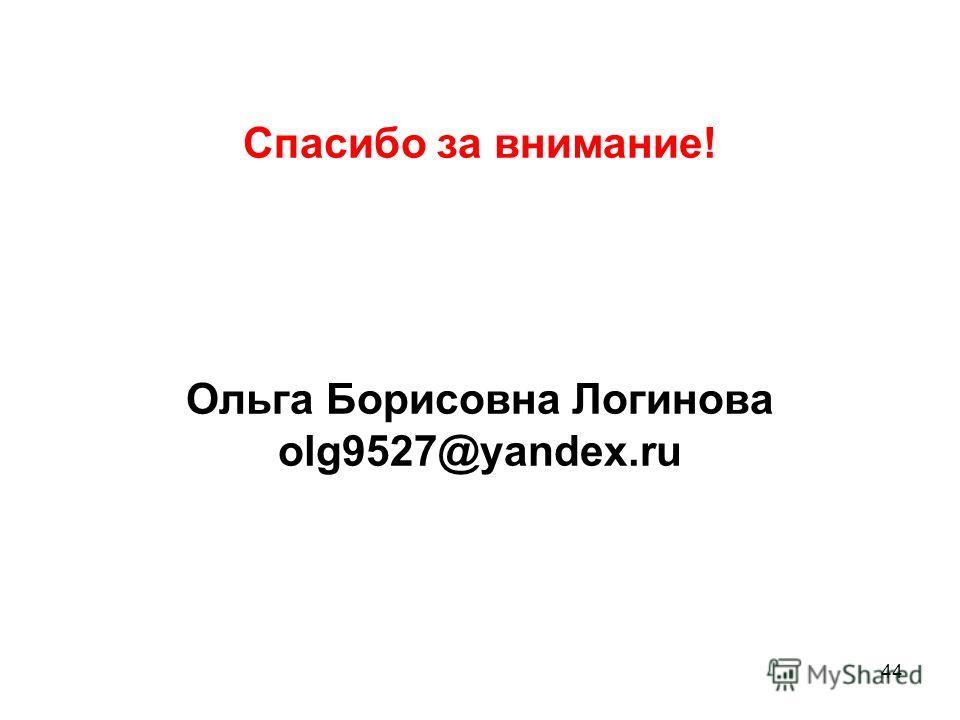 Спасибо за внимание! Ольга Борисовна Логинова olg9527@yandex.ru 44