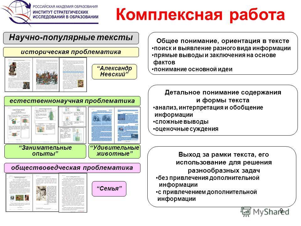 9 Общее понимание, ориентация в тексте поиск и выявление разного вида информации прямые выводы и заключения на основе фактов понимание основной идеи Детальное понимание содержания и формы текста анализ, интерпретация и обобщение информации сложные вы