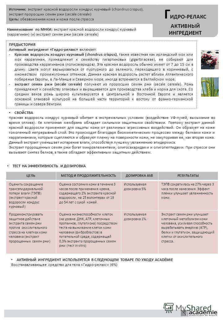 Источник: экстракт красной водоросли хондрус курчавый (chondrus crispus), экстракт проросших семян ржи (secale cereale) Цель: обезвоженная кожа и кожа после стресса Г ИДРО-РЕЛАКС АКТИВНЫЙ ИНГРЕДИЕНТ Наименование по МНКИ: экстракт красной водоросли хо