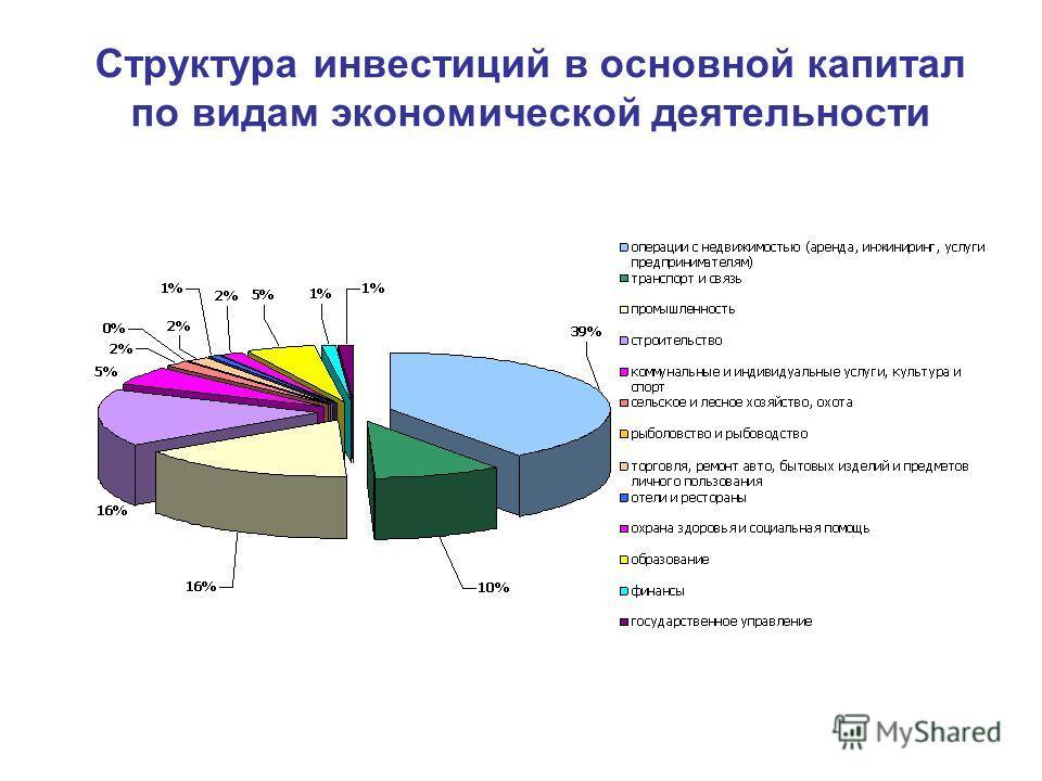 Структура инвестиций в основной капитал по видам экономической деятельности