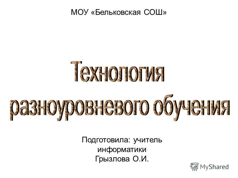 МОУ «Бельковская СОШ» Подготовила: учитель информатики Грызлова О.И.