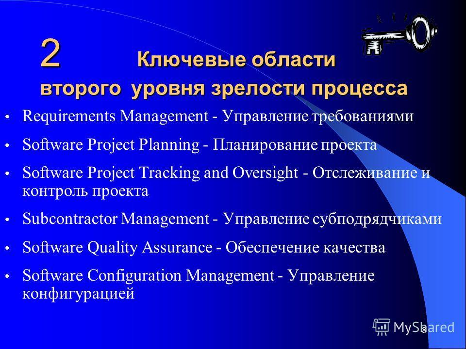 8 2 Ключевые области второго уровня зрелости процесса Requirements Management - Управление требованиями Software Project Planning - Планирование проекта Software Project Tracking and Oversight - Отслеживание и контроль проекта Subcontractor Managemen