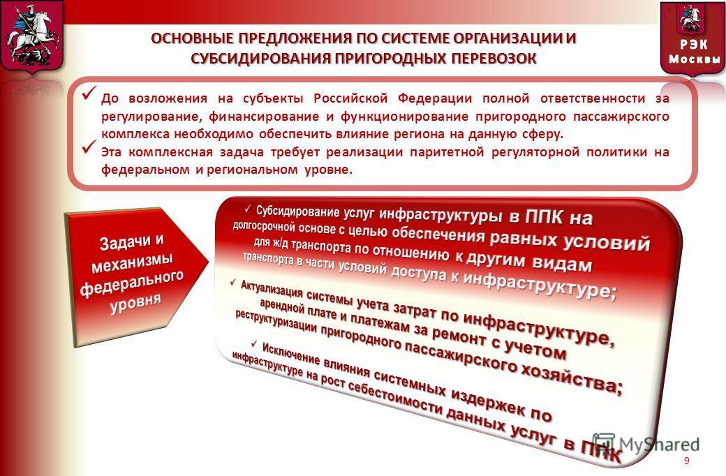 9 ОСНОВНЫЕ ПРЕДЛОЖЕНИЯ ПО СИСТЕМЕ ОРГАНИЗАЦИИ И СУБСИДИРОВАНИЯ ПРИГОРОДНЫХ ПЕРЕВОЗОК До возложения на субъекты Российской Федерации полной ответственности за регулирование, финансирование и функционирование пригородного пассажирского комплекса необхо