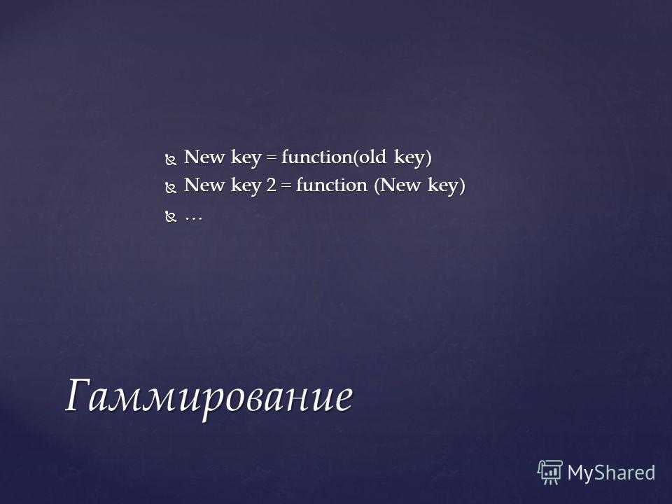 New key = function(old key) New key = function(old key) New key 2 = function (New key) New key 2 = function (New key) … Гаммирование