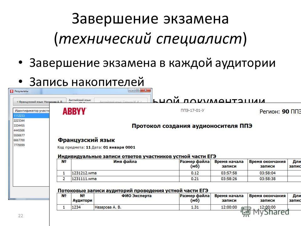 Завершение экзамена (технический специалист) Завершение экзамена в каждой аудитории Запись накопителей Печать сопроводительной документации 22