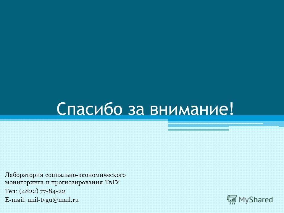 Спасибо за внимание! Лаборатория социально-экономического мониторинга и прогнозирования ТвГУ Тел: (4822) 77-84-22 E-mail: unil-tvgu@mail.ru