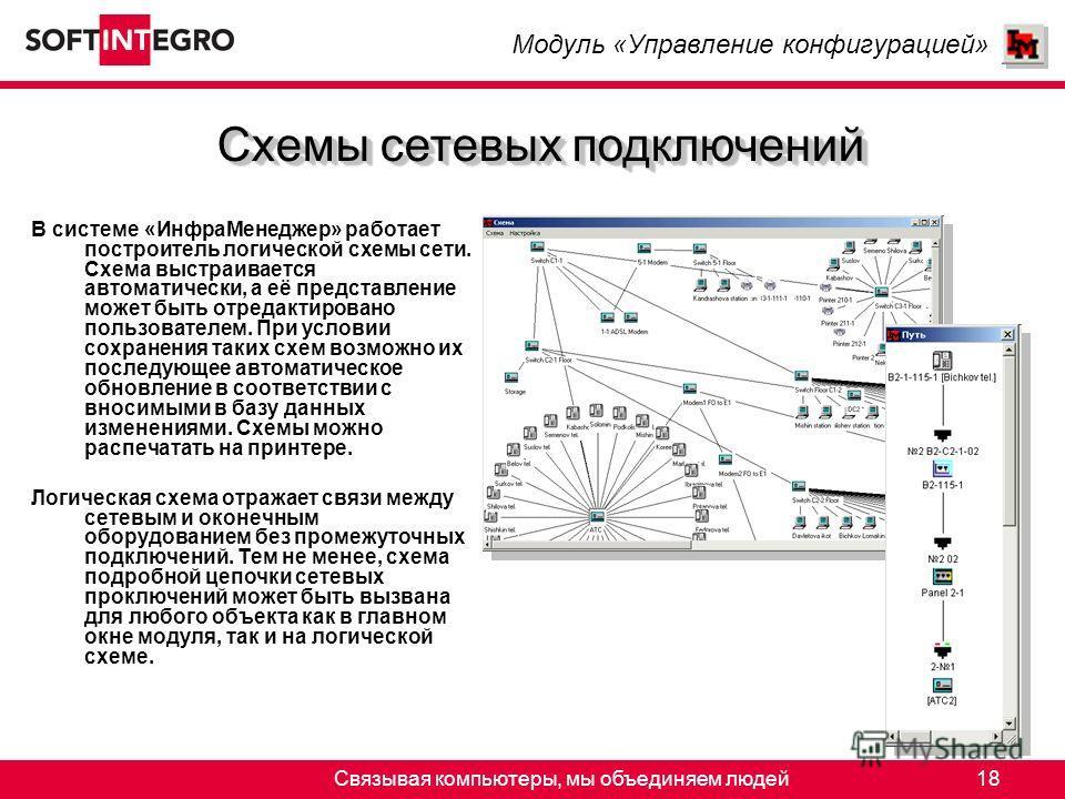 Связывая компьютеры, мы объединяем людей18 В системе «ИнфраМенеджер» работает построитель логической схемы сети. Схема выстраивается автоматически, а её представление может быть отредактировано пользователем. При условии сохранения таких схем возможн