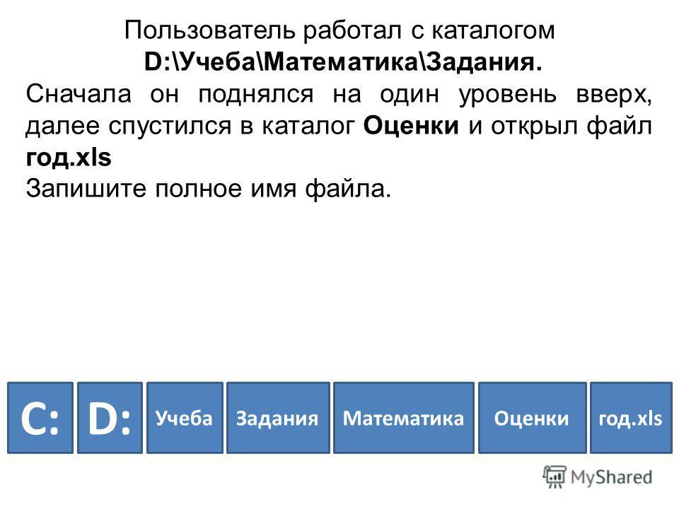 Пользователь работал с каталогом D:\Учеба\Математика\Задания. Сначала он поднялся на один уровень вверх, далее спустился в каталог Оценки и открыл файл год.xls Запишите полное имя файла. D:D: УчебаЗаданияМатематикаОценкигод.xls C:C: