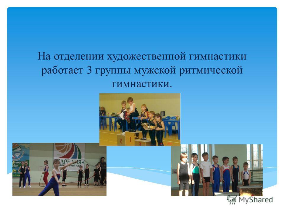 На отделении художественной гимнастики работает 3 группы мужской ритмической гимнастики.