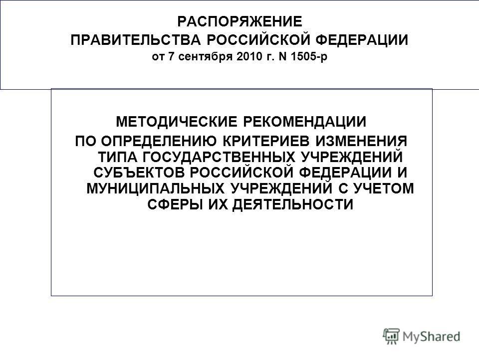 РАСПОРЯЖЕНИЕ ПРАВИТЕЛЬСТВА РОССИЙСКОЙ ФЕДЕРАЦИИ от 7 сентября 2010 г. N 1505-р МЕТОДИЧЕСКИЕ РЕКОМЕНДАЦИИ ПО ОПРЕДЕЛЕНИЮ КРИТЕРИЕВ ИЗМЕНЕНИЯ ТИПА ГОСУДАРСТВЕННЫХ УЧРЕЖДЕНИЙ СУБЪЕКТОВ РОССИЙСКОЙ ФЕДЕРАЦИИ И МУНИЦИПАЛЬНЫХ УЧРЕЖДЕНИЙ С УЧЕТОМ СФЕРЫ ИХ ДЕ