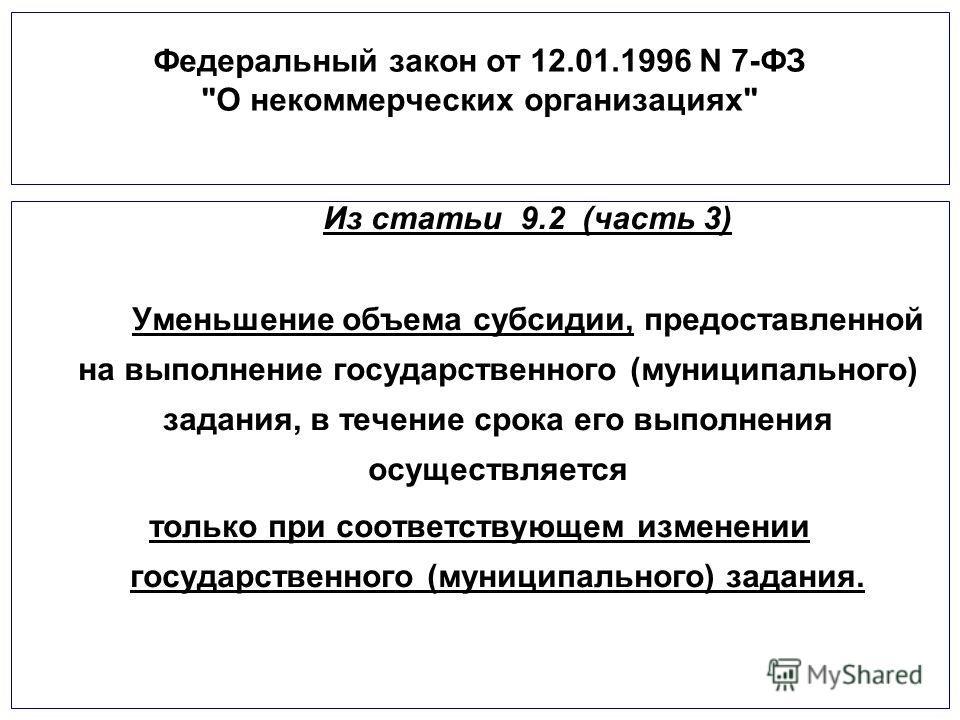 Федеральный закон от 12.01.1996 N 7-ФЗ
