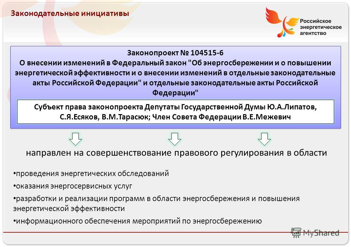 Российское энергетическое агентство Законодательные инициативы Законопроект 104515-6 О внесении изменений в Федеральный закон
