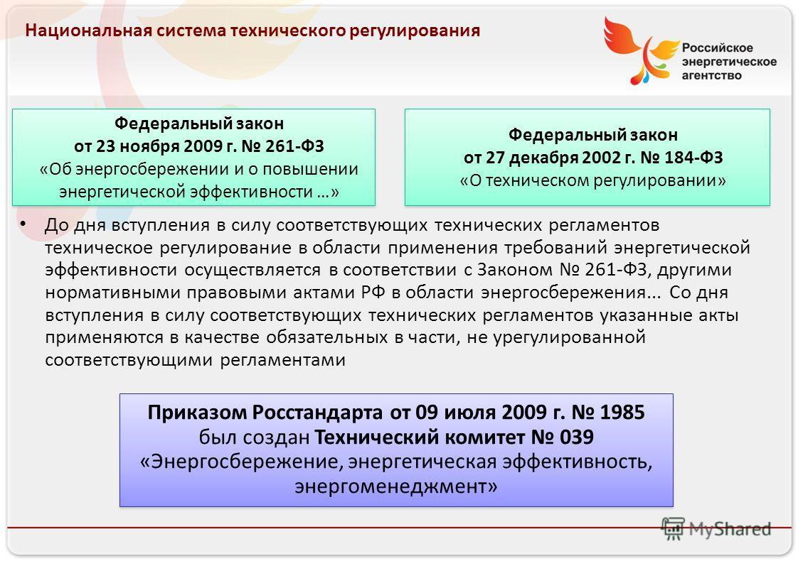 Российское энергетическое агентство Национальная система технического регулирования Федеральный закон от 23 ноября 2009 г. 261-ФЗ «Об энергосбережении и о повышении энергетической эффективности …» Федеральный закон от 27 декабря 2002 г. 184-ФЗ «О тех